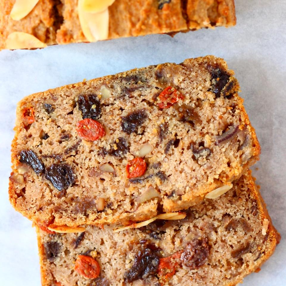 This Gluten-Free Vegan Fruit Cake is seriously moist, slightly boozy, beautifully fragrant and not overly sweet! It's also refined sugar free.