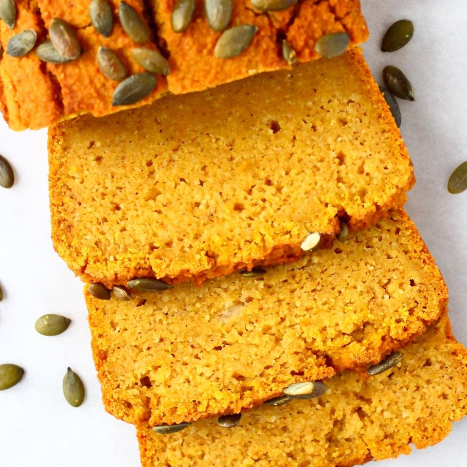 This Gluten-Free Vegan Pumpkin Bread is moist, subtly spiced and perfectly dense. It comes together in one bowl and is easy to make. It's refined sugar free, can be made with no added sugar or can be made savoury.
